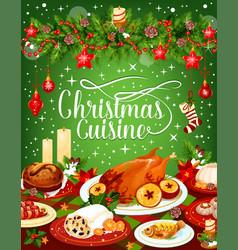 Christmas dinner cuisine greeting card vector