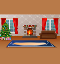 Christmas living room with fireplace armchair tr vector