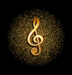 Clef music symbol on gold glitter background vector