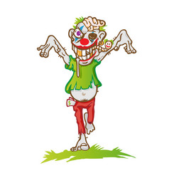 clown zombie mascot cartoon isolated on white vector image