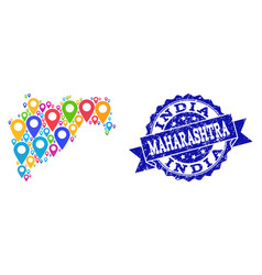 Collage map of maharashtra state with map markers vector