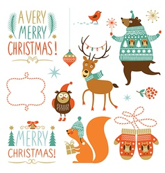 Collection christmas graphic elements vector