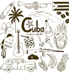 collection cuban icons vector image