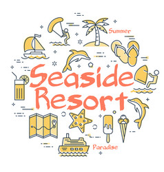 colorful icons in set for seaside resort holidays vector image