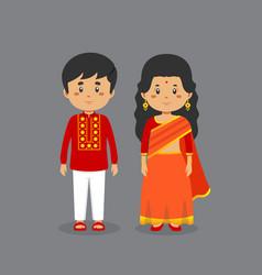 Couple character wearing bangladesh national dress vector