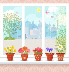 Cute flowers planted in ceramic pots on a vector