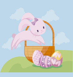 cute rabbit with basket and eggs of easter vector image