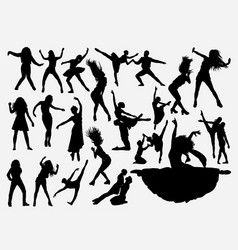 dancing activity silhouette vector image