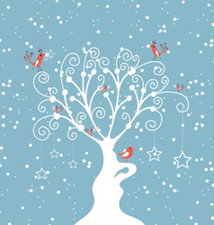 decorative winter tree vector image