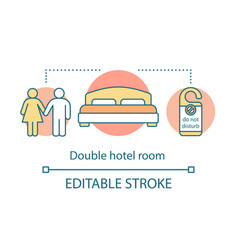 Double hotel room concept icon vector