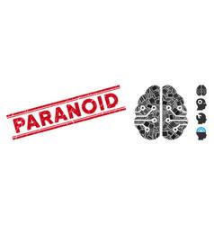 Electronic brain mosaic and distress paranoid vector
