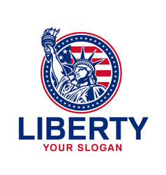 emblem with statue liberty vector image