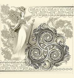Fantastic celtic ornament with triple spiral vector