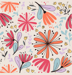 Fantasy flowers seamless pattern vector