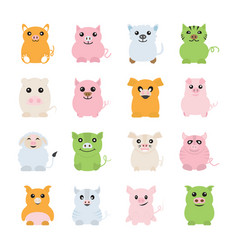 fat pigs icons vector image