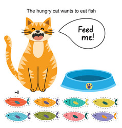 Feed cat activity page for kids vector