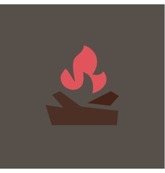 Fiery fire with wood in camp qualitatively vector
