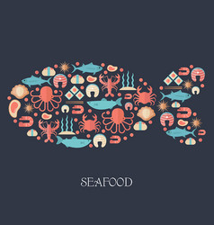 fish and seafood flat icon fish and seafood flat vector image