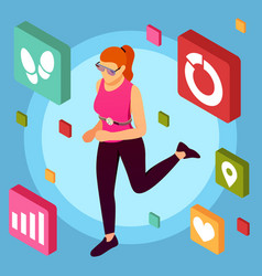 Fitness apps isometric background vector