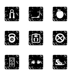 Fitness icons set grunge style vector image