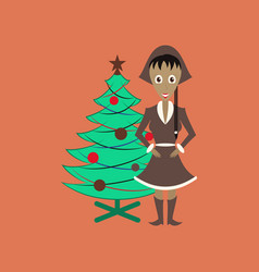 Flat on background of christmas girl vector