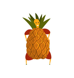funny pineapple cartoon character man in fruit vector image