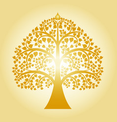 golden bodhi tree vector image