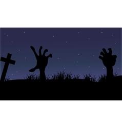Halloween hand zombie of silhouette vector image