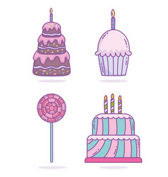 happy birthday cakes cupcake candles candy in vector image