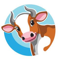 Head cartoon brown cow vector