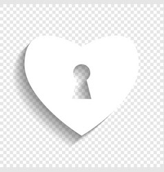 heart with lock sign white icon with soft vector image