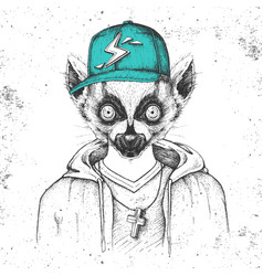 Hipster animal lemur dressed in cap like rapper vector