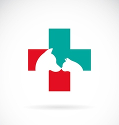 image veterinary symbol with dog and cat vector image