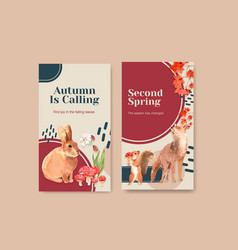 instagram template with autumn forest and animals vector image