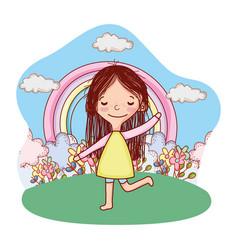kid child outdoors cartoon vector image