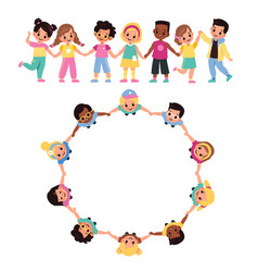 kids round dance top view multicultural cute vector image