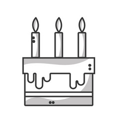 line tasty cake with candle to party celebration vector image