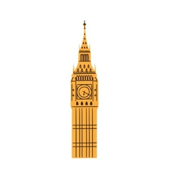 London Big Ben Tower isolated on white vector image