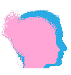 Man and woman faces silhouettes vector