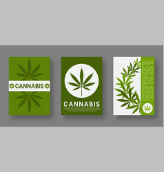 medical cannabis cover templates set with leaf vector image
