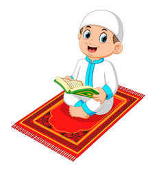 Muslim boy reading holy quran vector