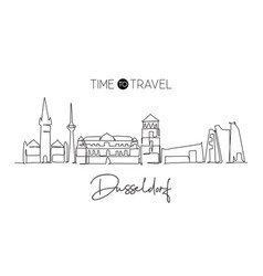 one continuous line drawing dusseldorf city vector image