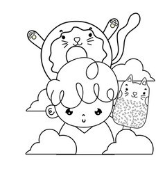 Outline boy with kawaii cats donut and ice lolly vector