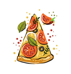 pizza with tomatoes and cheese on white plate vector image