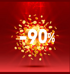 podium action with share discount percentage 90 vector image