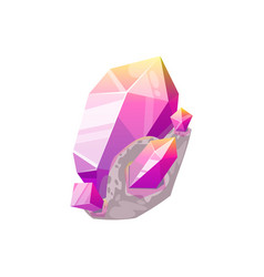 purple gem stone isolated crystal violet amethyst vector image