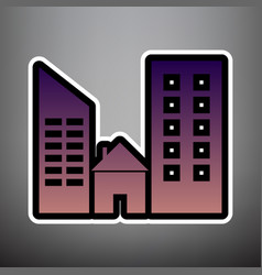 real estate sign violet gradient icon vector image