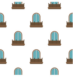 Retro balcony with an arched window pattern flat vector