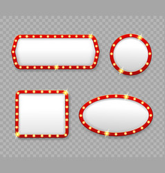 retro marquee frames with light bulbs banners vector image