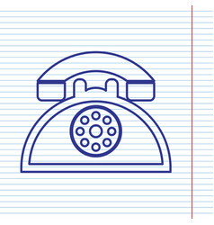 Retro telephone sign navy line icon on vector